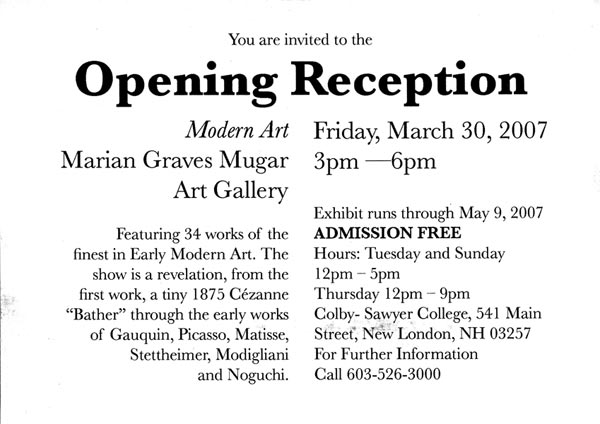 Postcard for the Marian Graves Mugar Art Gallery